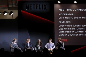 ROME, ITALY - APRIL 18: (L-R) Chris Hewitt, Cindy Holland, Lisa Nishimura, Brian Pearson and Damien Couvreur attend Meet the Commissioners panel during Netflix 'See What's Next' event at Villa Miani on April 18, 2018 in Rome, Italy. (Photo by Ernesto S. Ruscio/Getty Images for Netflix) *** Local Caption *** Chris Hewitt; Cindy Holland; Brian Pearson; Damien Couvreur