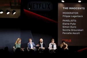 ROME, ITALY - APRIL 18: (L-R) Filippa Lagerback, Elaine Pyke, Simon Duric, Sorcha Groundsell and Percelle Ascott attend The Innocents panel during Netflix 'See What's Next' event at Villa Miani on April 18, 2018 in Rome, Italy. (Photo by Ernesto S. Ruscio/Getty Images for Netflix) *** Local Caption *** Filippa Lagerback; Elaine Pyke; Simon Duric; Sorcha Groundsell; Percelle Ascott